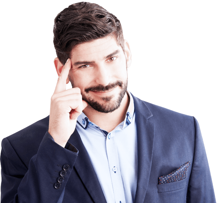 Homem pensando sobre Auditoria e consultoria